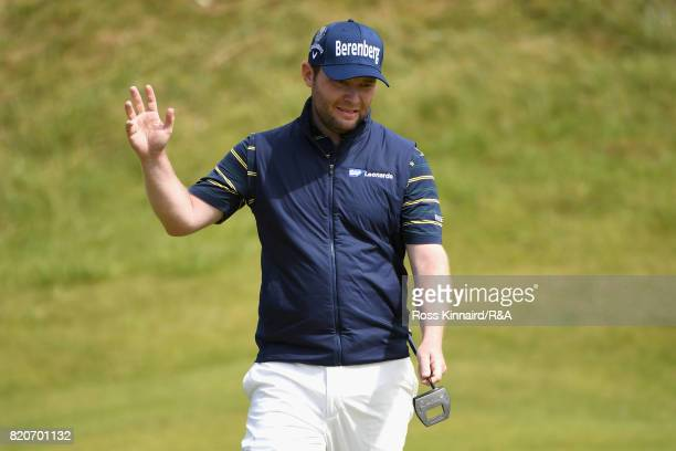 Branden Grace of South Africa acknowledges the crowd during the third round of the 146th Open Championship at Royal Birkdale on July 22 2017 in...