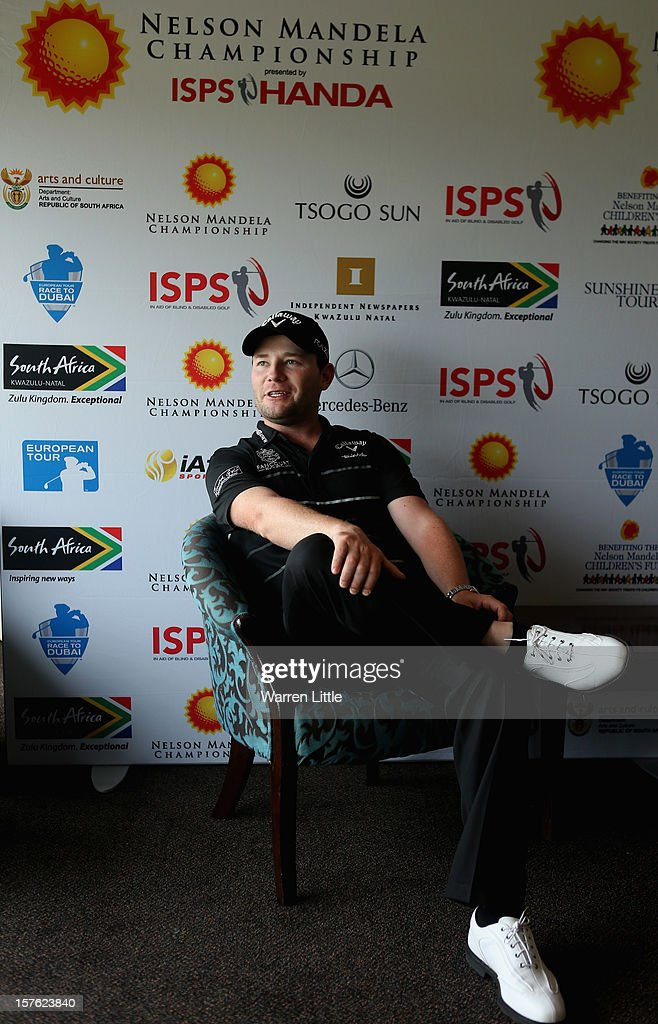 <a gi-track='captionPersonalityLinkClicked' href=/galleries/search?phrase=Branden+Grace+-+Golfer&family=editorial&specificpeople=4816558 ng-click='$event.stopPropagation()'>Branden Grace</a> of South Africa addesses a press conference during the Pro-am of The Nelson Mandela Championship presented by ISPS Handa at Royal Durban Golf Club on December 5, 2012 in Durban, South Africa.