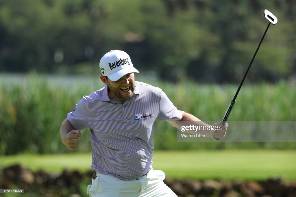 Branden Grace of South Africa celebrates a birdie on the 16th green during the final round of the Nedbank Golf Challenge at Gary Player CC on November 12, 2017 in Sun City, South Africa.