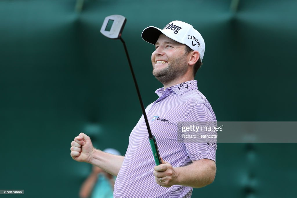Branden Grace of South Africa celebrates as he holes the winning putt to secure victory during the final round of the 2017 Nedbank Golf Challenge at Gary Player CC on November 12, 2017 in Sun City, South Africa.