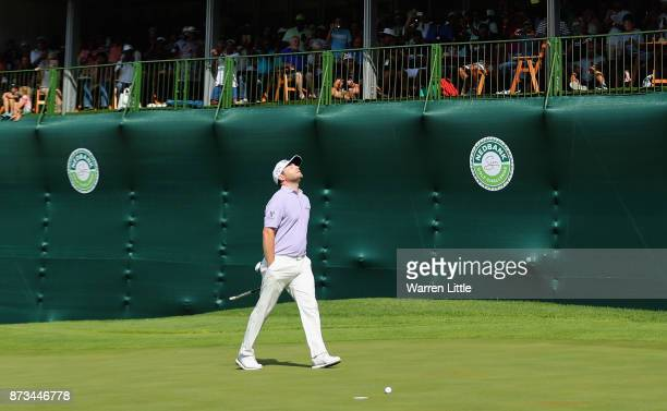 Branden Grace of South Africa celebrates winning the Nedbank Golf Challenge at Gary Player CC on November 12 2017 in Sun City South Africa