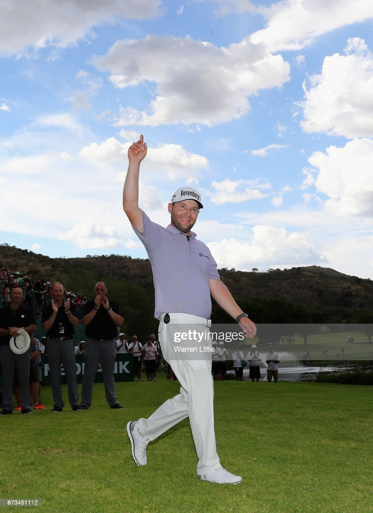 Branden Grace of South Africa celebrates winning the Nedbank Golf Challenge at Gary Player CC on November 12, 2017 in Sun City, South Africa.