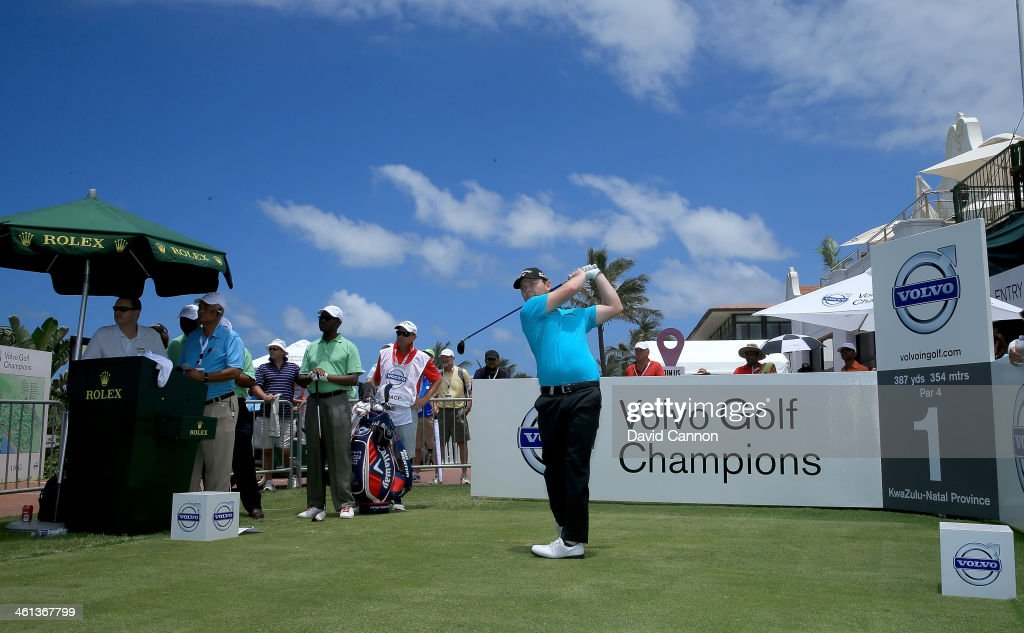 <a gi-track='captionPersonalityLinkClicked' href=/galleries/search?phrase=Branden+Grace+-+Golfer&family=editorial&specificpeople=4816558 ng-click='$event.stopPropagation()'>Branden Grace</a> of South Africa during the pro-am as a preview for the 2014 Volvo Golf Champions tournament at Durban Country Club on January 8, 2014 in Durban, South Africa.
