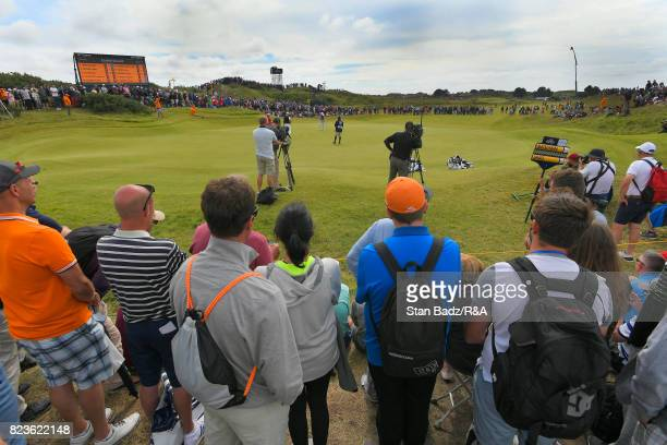 Branden Grace of South Africa hits a putt on eighth hole during the final round of the 146th Open Championship at Royal Birkdale on July 23 2017 in...