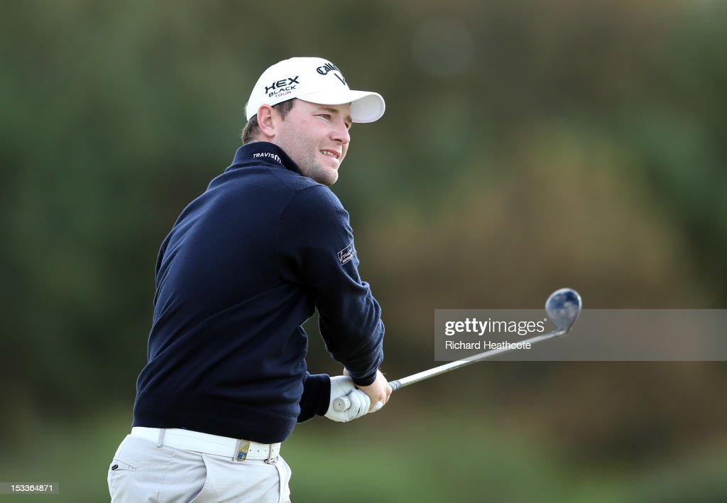 Branden Grace of South Africa hits an apporach shot on the 9th during the first round of The Alfred Dunhill Links Championship at Kingsbarns Golf Links on October 4, 2012 in Kingsbarns, Scotland.