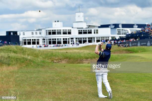 Branden Grace of South Africa hits his second shot on the 18th hole during the third round of the 146th Open Championship at Royal Birkdale on July...