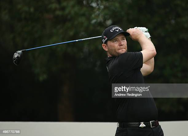 Branden Grace of South Africa hits his teeshot on the ninth hole during the first round of the WGC HSBC Champions at the Sheshan International Golf...