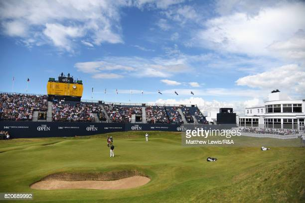 Branden Grace of South Africa makes a par putt on the 18th green to shoot a 62 the lowest round in major championship history during the third round...