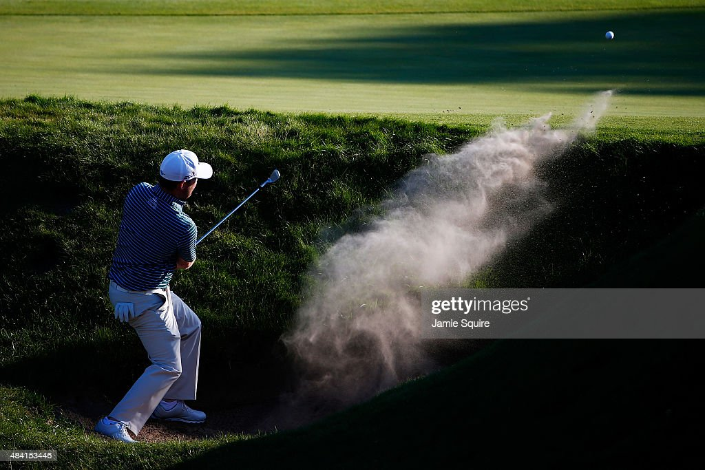 <a gi-track='captionPersonalityLinkClicked' href=/galleries/search?phrase=Branden+Grace&family=editorial&specificpeople=4816558 ng-click='$event.stopPropagation()'>Branden Grace</a> of South Africa plays a bunker shot on the 18th hole during the third round of the 2015 PGA Championship at Whistling Straits on August 15, 2015 in Sheboygan, Wisconsin.