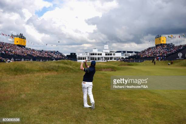 Branden Grace of South Africa plays his second shot on the 18th hole during the third round of the 146th Open Championship at Royal Birkdale on July...