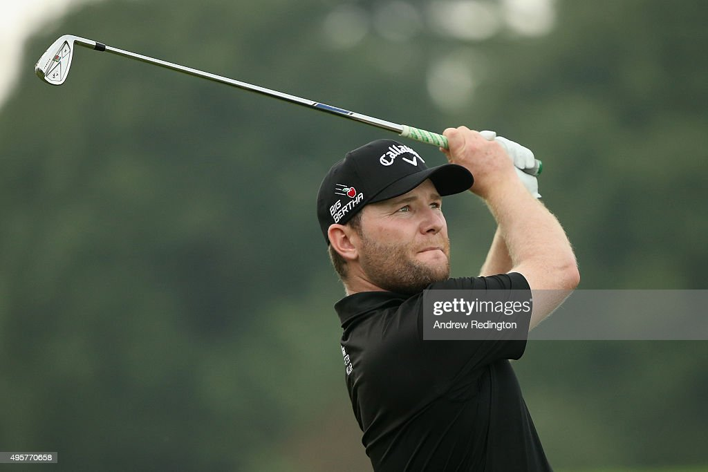 Branden Grace of South Africa plays his second shot on the ninth hole during the first round of the WGC - HSBC Champions at the Sheshan International Golf Club on November 5, 2015 in Shanghai, China.