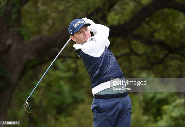 Branden Grace of South Africa plays his shot from the sixth tee during the third round of the Valero Texas Open at TPC San Antonio ATT Oaks Course on...