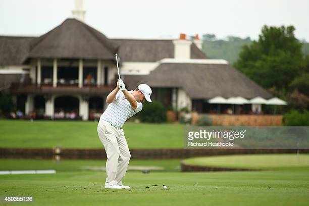 Branden Grace of South Africa plays into the 9th green during the second round of the Alfred Dunhill Championship at Leopard Creek Country Golf Club...