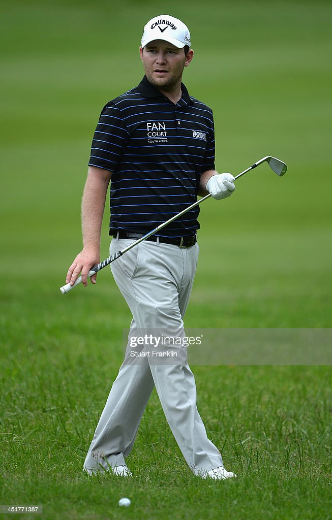 <a gi-track='captionPersonalityLinkClicked' href=/galleries/search?phrase=Branden+Grace&family=editorial&specificpeople=4816558 ng-click='$event.stopPropagation()'>Branden Grace</a> of South Africa ponders a shot during the pro-am prior to the start of the Nelson Mandela Championship presented by ISPS Handa at Mount Edgecombe Country Club on December 10, 2013 in Durban, South Africa.