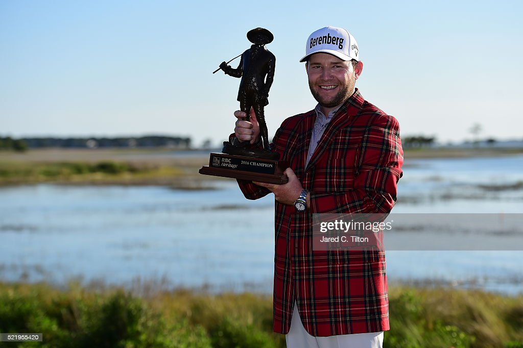 <a gi-track='captionPersonalityLinkClicked' href=/galleries/search?phrase=Branden+Grace&family=editorial&specificpeople=4816558 ng-click='$event.stopPropagation()'>Branden Grace</a> of South Africa poses with the trophy after winning the 2016 RBC Heritage at Harbour Town Golf Links on April 17, 2016 in Hilton Head Island, South Carolina.