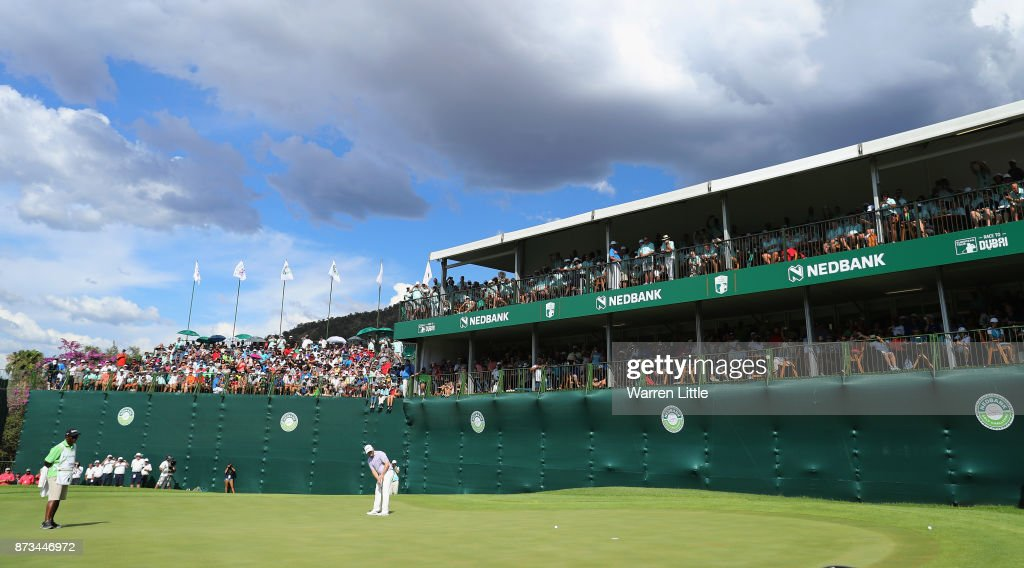 Branden Grace of South Africa putts on the 18th green en route to winning the Nedbank Golf Challenge at Gary Player CC on November 12, 2017 in Sun City, South Africa.