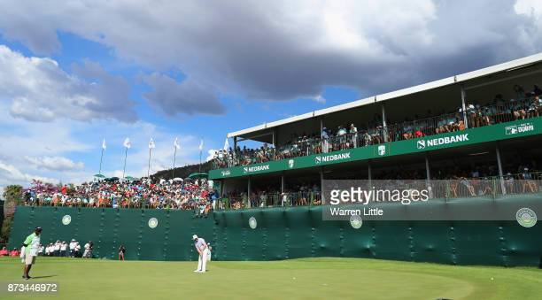 Branden Grace of South Africa putts on the 18th green en route to winning the Nedbank Golf Challenge at Gary Player CC on November 12 2017 in Sun...