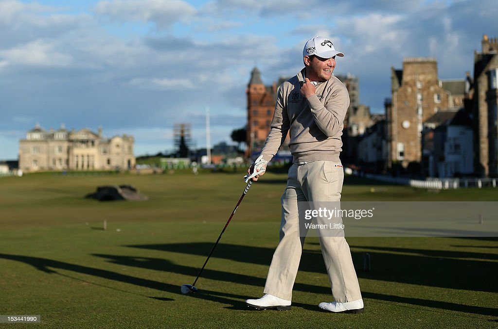 Branden Grace of South Africa shares a joke as he prepares to tee off on the 18th hole during the second round of The Alfred Dunhill Links Championship at The Old Course on October 5, 2012 in St Andrews, Scotland.