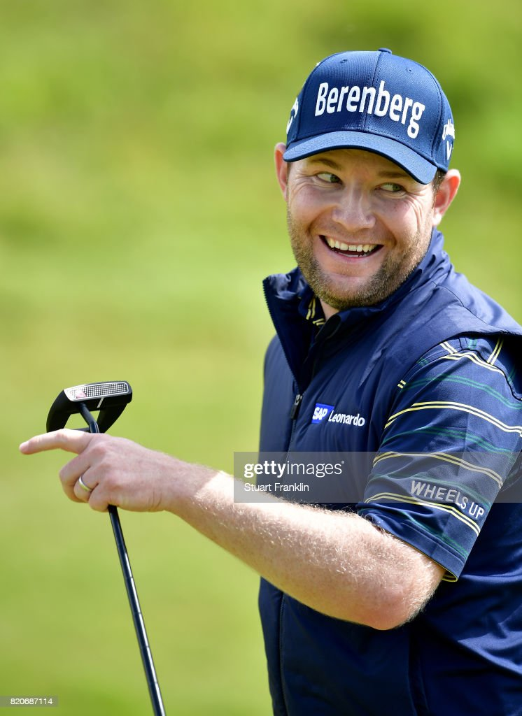 Branden Grace of South Africa smiles after a birdie on the 17th green during the third round of the 146th Open Championship at Royal Birkdale on July 22, 2017 in Southport, England.