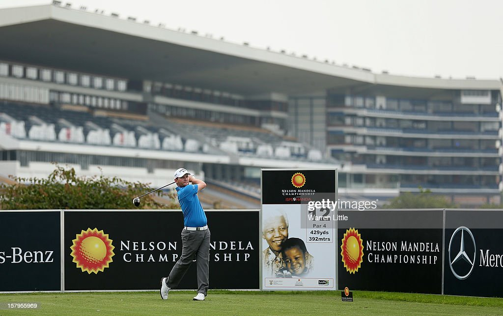 Branden Grace of South Africa tees off on the 12th hole during the first round of The Nelson Mandela Championship presented by ISPS Handa at Royal Durban Golf Club on December 8, 2012 in Durban, South Africa.
