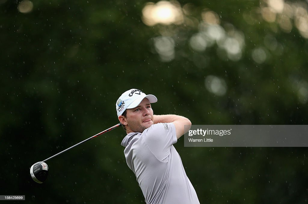 Branden Grace of South Africa tees off on the 13th hole during the final round of the Alfred Dunhill Championship at Leopard Creek Country Golf Club on December 16, 2012 in Malelane, South Africa.