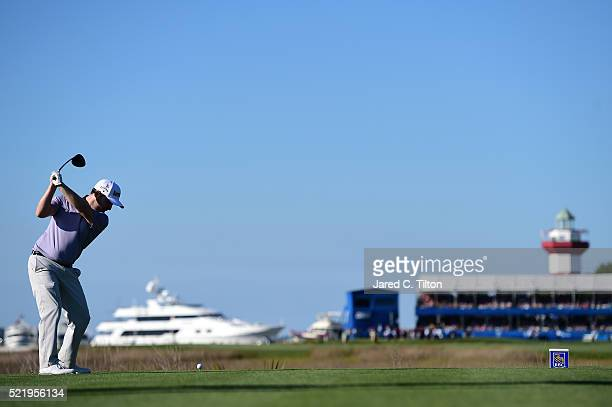 Branden Grace of South Africa tees off on the 18th hole during the final round of the 2016 RBC Heritage at Harbour Town Golf Links on April 17 2016...