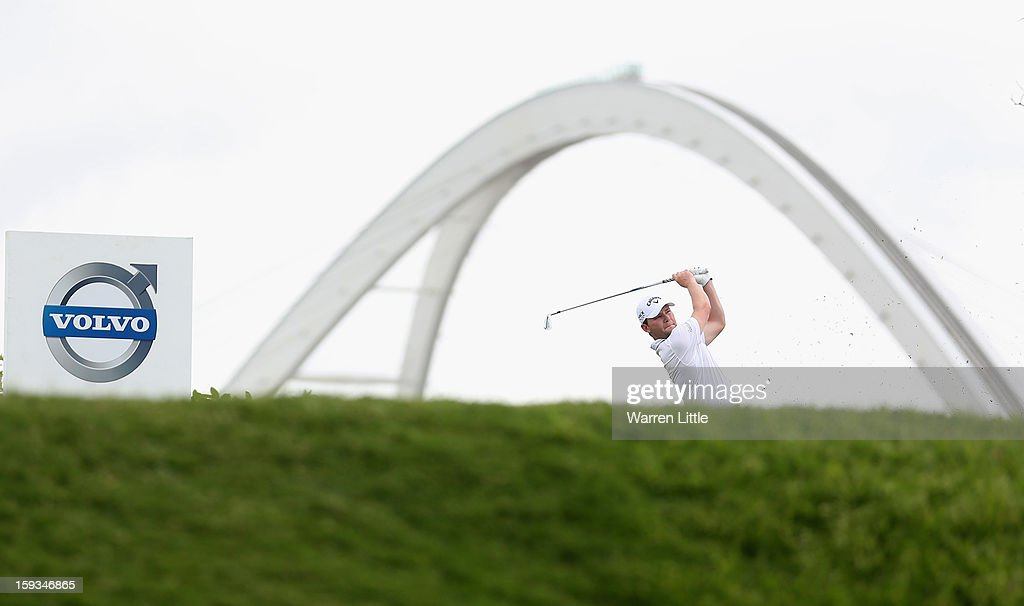 Branden Grace of South Africa tees off on the second hole during the third round of the Volvo Golf Champions at Durban Country Club on January 12, 2013 in Durban, South Africa.