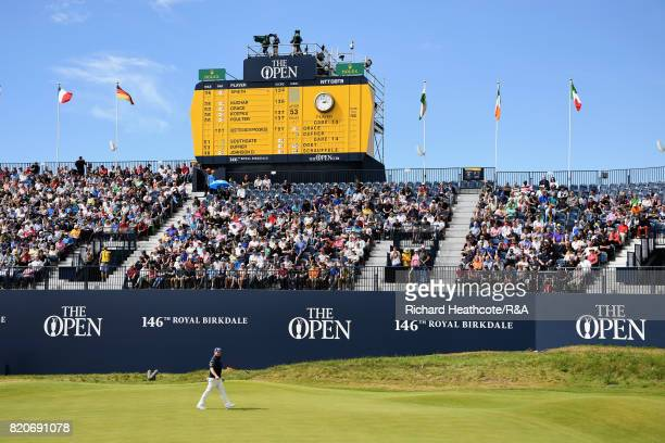 Branden Grace of South Africa walks on the 18th green during the third round of the 146th Open Championship at Royal Birkdale on July 22 2017 in...