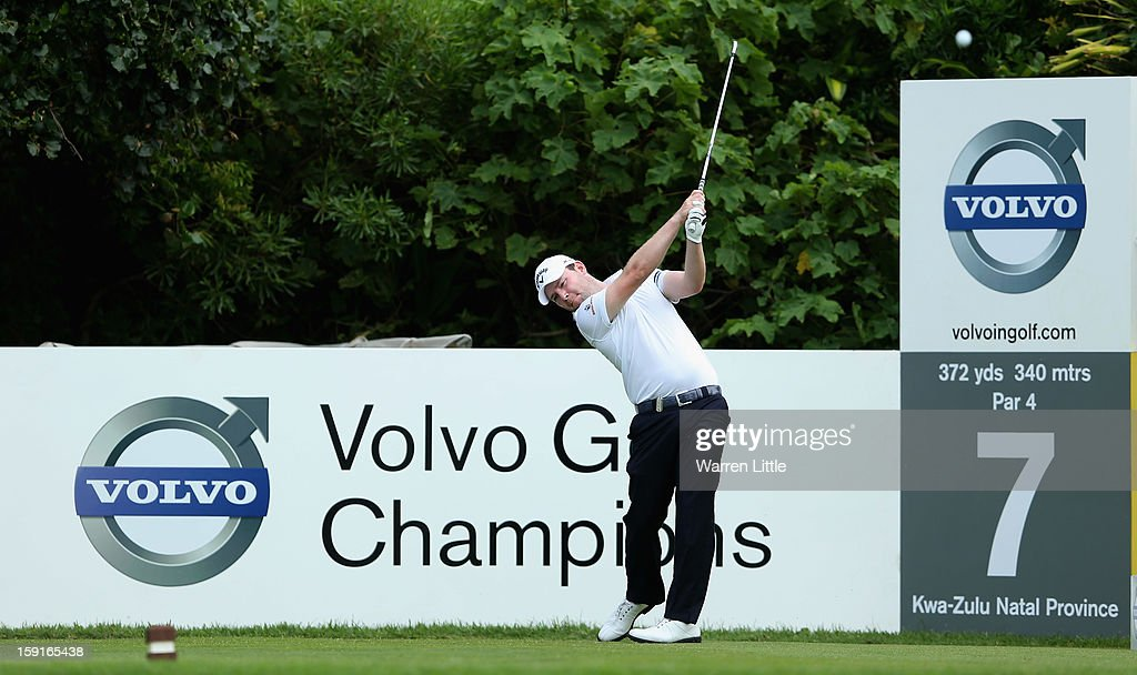 <a gi-track='captionPersonalityLinkClicked' href=/galleries/search?phrase=Branden+Grace+-+Golfer&family=editorial&specificpeople=4816558 ng-click='$event.stopPropagation()'>Branden Grace</a> of South Africatees off on the seventh hole during the Pro-Am for the Volvo Golf Champions at Durban Country Club on January 9, 2013 in Durban, South Africa.