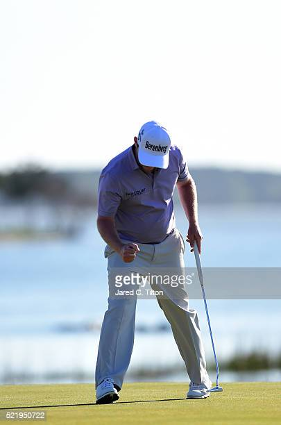 Branden Grace reacts after making a putt on the 18th hole during the final round of the 2016 RBC Heritage at Harbour Town Golf Links on April 17 2016...