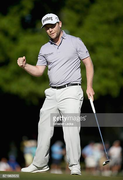 Branden Grace reacts to a putt on the 16th hole during the final round of the 2016 RBC Heritage at Harbour Town Golf Links on April 17 2016 in Hilton...