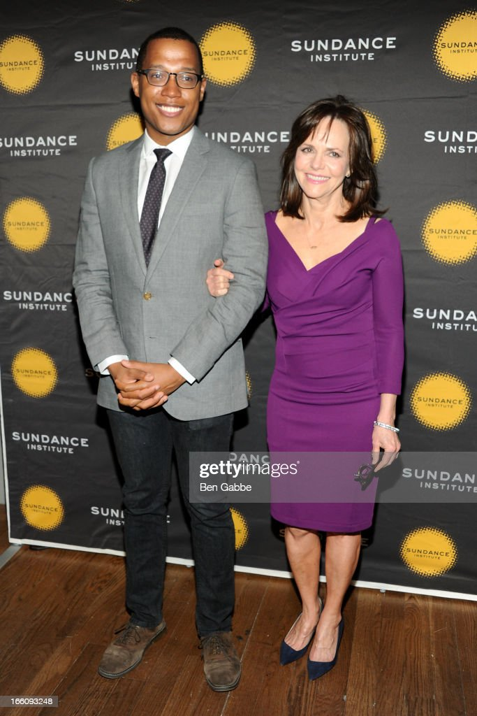 Branden Jacobs-Jenkins and Sally Field attend the 2013 Sundance Institute Theatre Program Benefit at Stephen Weiss Studio on April 8, 2013 in New York City.