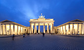 brandenburg gate in twilight