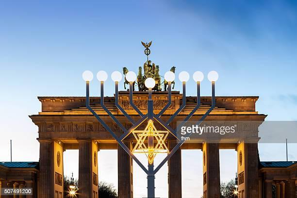 Brandenburg Gate with chanukkah lights, Berlin
