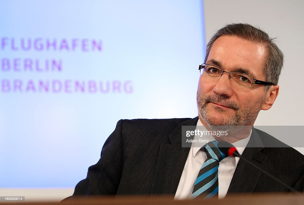 Brandenburg Governor <a gi-track='captionPersonalityLinkClicked' href=/galleries/search?phrase=Matthias+Platzeck&family=editorial&specificpeople=605525 ng-click='$event.stopPropagation()'>Matthias Platzeck</a> pauses during a news conference on March 8, 2013 in Berlin, Germany. Hartmut Mehdorn, former chief executive of Air Berlin and Deutsche Bahn, was appointed head of the management board of the city's new airport, Berlin Brandenburg International (BER), which has been plagued with delays in its opening over the past year and a half. The position has been unoccupied since January, when Rainer Schwarz stepped down from it after it was announced that the new airport's opening would be postponed for a fourth time until at least 2014.