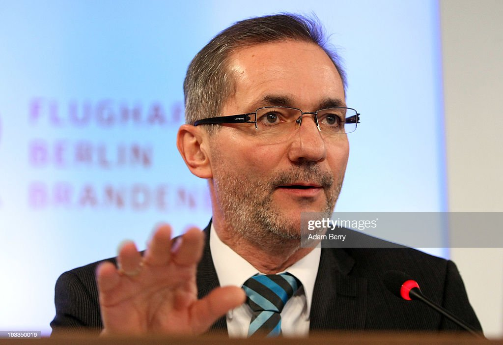 Brandenburg Governor <a gi-track='captionPersonalityLinkClicked' href=/galleries/search?phrase=Matthias+Platzeck&family=editorial&specificpeople=605525 ng-click='$event.stopPropagation()'>Matthias Platzeck</a> speaks during a news conference on March 8, 2013 in Berlin, Germany. Mehdorn was appointed head of the management board of the city's new airport, Berlin Brandenburg International (BER), which has been plagued with delays in its opening over the past year and a half. The position has been unoccupied since January, when Rainer Schwarz stepped down from it after it was announced that the new airport's opening would be postponed for a fourth time until at least 2014.
