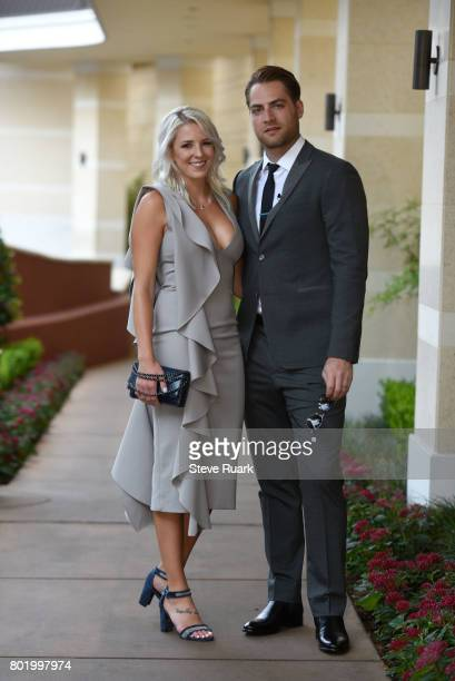 Brandi Bodnar and her husband Braden Holtby of the Washington Capitals arrive for the 2017 NHL Awards at TMobile Arena on June 21 2017 in Las Vegas...