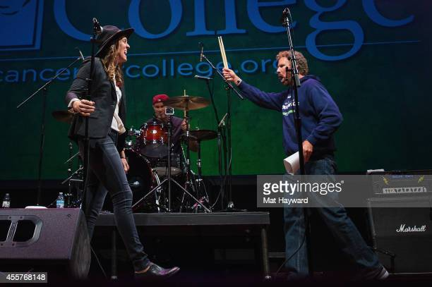 Brandi Carlile Chad Smith and Will Ferrell perform on stage during '90 Minutes With Will Ferrell' benefitting Cancer For College at University of...