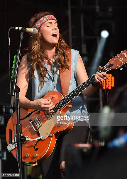Brandi Carlile performs during the 2015 Bonnaroo Music Arts Festival on June 14 2015 in Manchester Tennessee