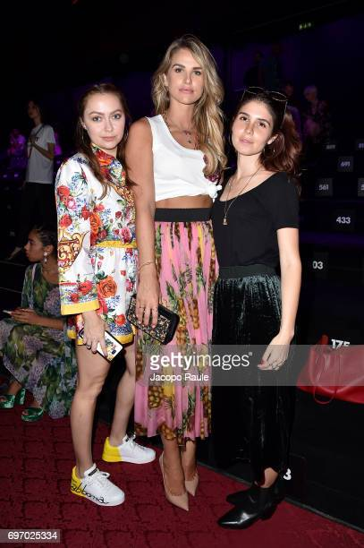 Brandi Cyrus Vogue Williams and guest attend the Dolce Gabbana show during Milan Men's Fashion Week Spring/Summer 2018 on June 17 2017 in Milan Italy