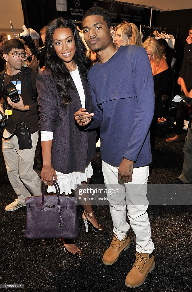 Brandi Garnett (L) and rapper Dominic Lord pose backstage at the Richard Chai Spring 2014 fashion show during Mercedes-Benz Fashion Week at The Stage at Lincoln Center on September 5, 2013 in New York City.