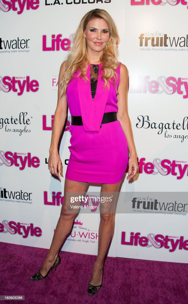 <a gi-track='captionPersonalityLinkClicked' href=/galleries/search?phrase=Brandi+Glanville&family=editorial&specificpeople=841250 ng-click='$event.stopPropagation()'>Brandi Glanville</a> arrives at Life & Style's Hollywood In Bright Pink Event Hosted By Giuliana Rancic at Bagatelle on October 9, 2013 in Los Angeles, California.