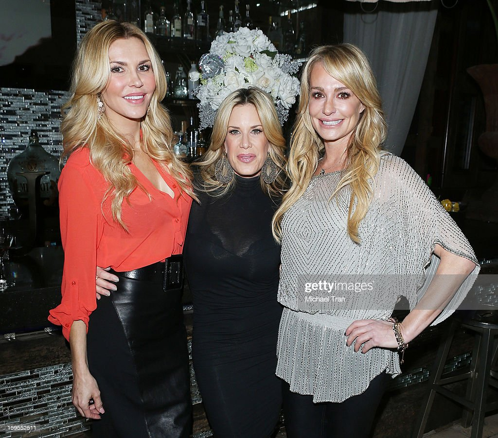<a gi-track='captionPersonalityLinkClicked' href=/galleries/search?phrase=Brandi+Glanville&family=editorial&specificpeople=841250 ng-click='$event.stopPropagation()'>Brandi Glanville</a>, Ellen K and <a gi-track='captionPersonalityLinkClicked' href=/galleries/search?phrase=Taylor+Armstrong&family=editorial&specificpeople=6903739 ng-click='$event.stopPropagation()'>Taylor Armstrong</a> attend the 'How Lavish Will Your 2013 Be?' event held at Sur Restaurant on January 15, 2013 in Los Angeles, California.