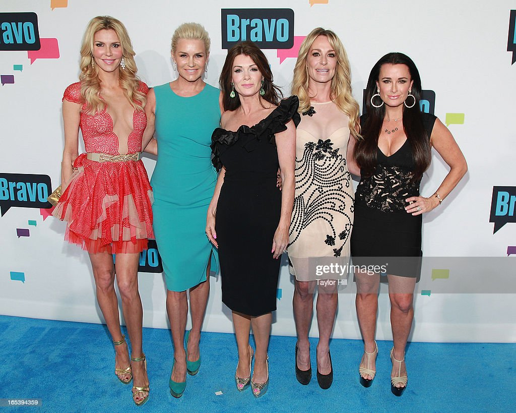 Brandi Glanville, Yolanda Foster, Lisa Vanderpump, Taylor Armstrong, and Kyle Richards of 'The Real Housewives of Beverly Hills' attend the 2013 Bravo Upfront at Pillars 37 Studios on April 3, 2013 in New York City.