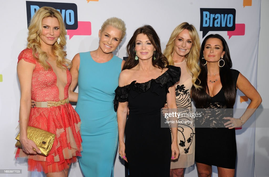 Brandi Glanville, Yolanda Foster, Lisa Vanderpump, Taylor Armstrong, and Kyle Richards of 'The Real Housewives of Beverly Hills' attend the 2013 Bravo New York Upfront at Pillars 37 Studios on April 3, 2013 in New York City.