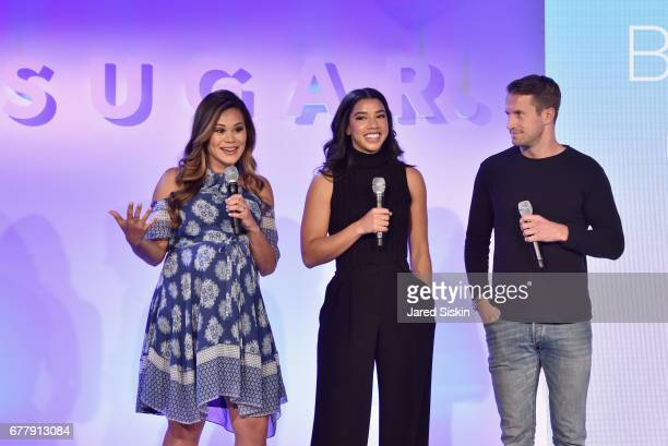 Brandi Milloy Hannah Bronfman and Brendan Fallis speak on stage during the POPSUGAR 2017 Digital NewFront at Industria Studios on May 3 2017 in New...