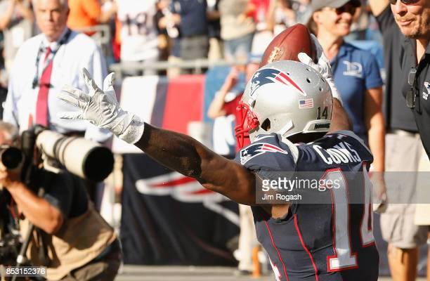 Brandin Cooks of the New England Patriots reacts after catching the game winning touchdown during the fourth quarter of a game against the Houston...