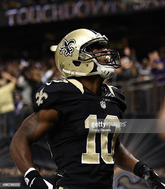 Brandin Cooks of the New Orleans Saints celebrates a touchdown during the first quarter against the Tennessee Titans at the MercedesBenz Superdome on...