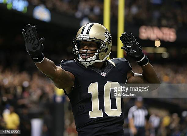 Brandin Cooks of the New Orleans Saints celebrates after scoring a touchdown against the Green Bay Packers during the first quarter at MercedesBenz...