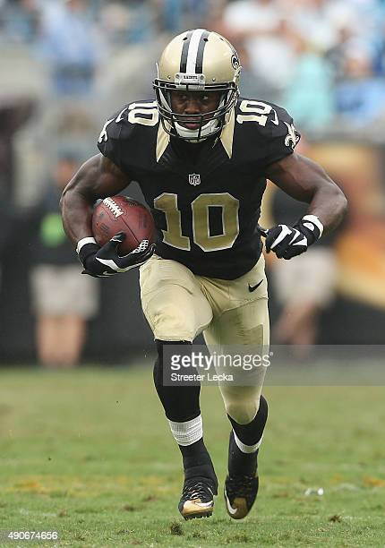 Brandin Cooks of the New Orleans Saints during their game at Bank of America Stadium on September 27 2015 in Charlotte North Carolina